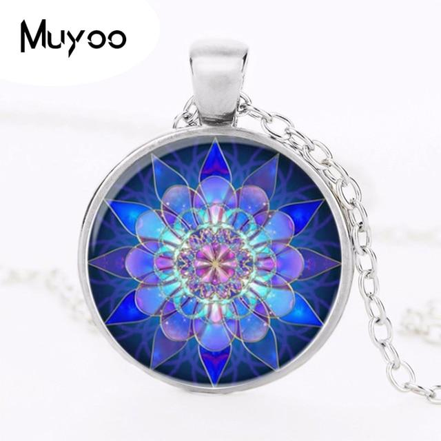 Necklaces Handmade Jewelry Personality Blue Mandala Necklace Pendant