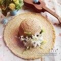 Feminino verão sunbonnet sol cap praia garishness Natrual ráfia chapéu de palha das senhoras flor forma clássica mulheres ao ar livre chapéu de sol