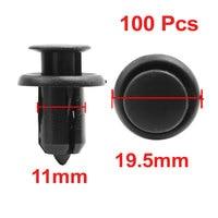 X Autohaux 100 Pcs 19.5 Head Dia Plastic Rivet Fastener Mud Flaps Bumper  Clips Black