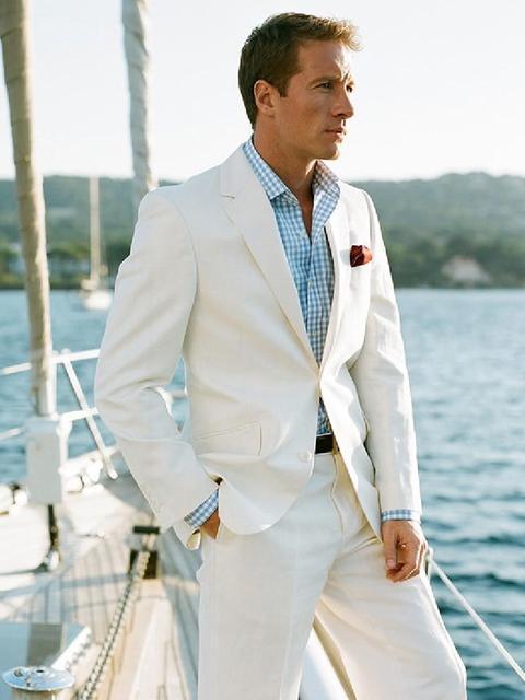 Linen men Suits ivory mens wedding suits notch lapel Tuxedos two ...