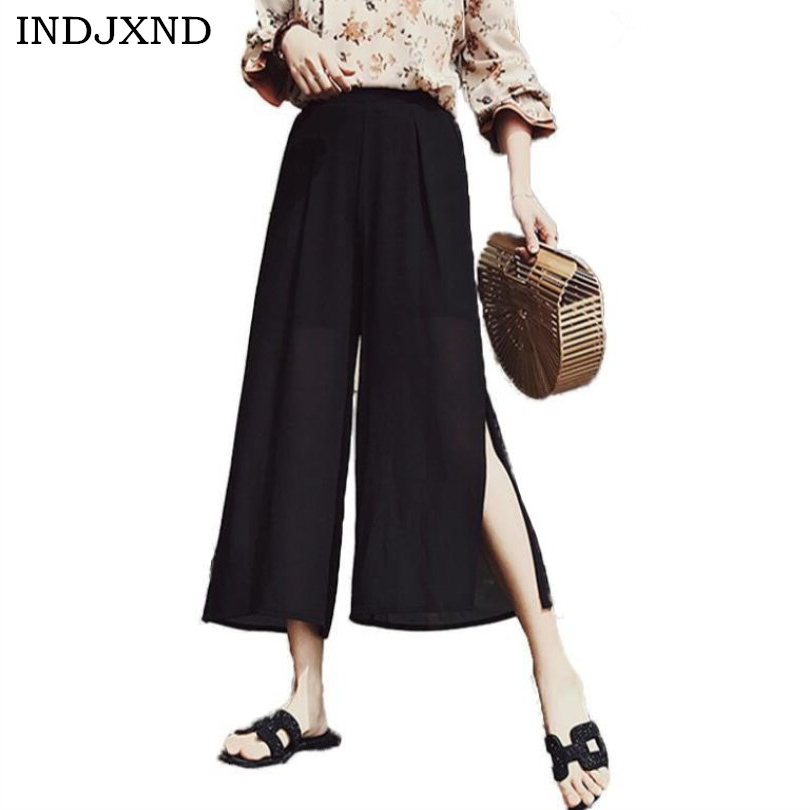 INDJXND New Summer Women Pants Chiffon Style Elastic Casual Trousers Loose Calf- Length Black Split Wide Leg Ladies Pant Capris