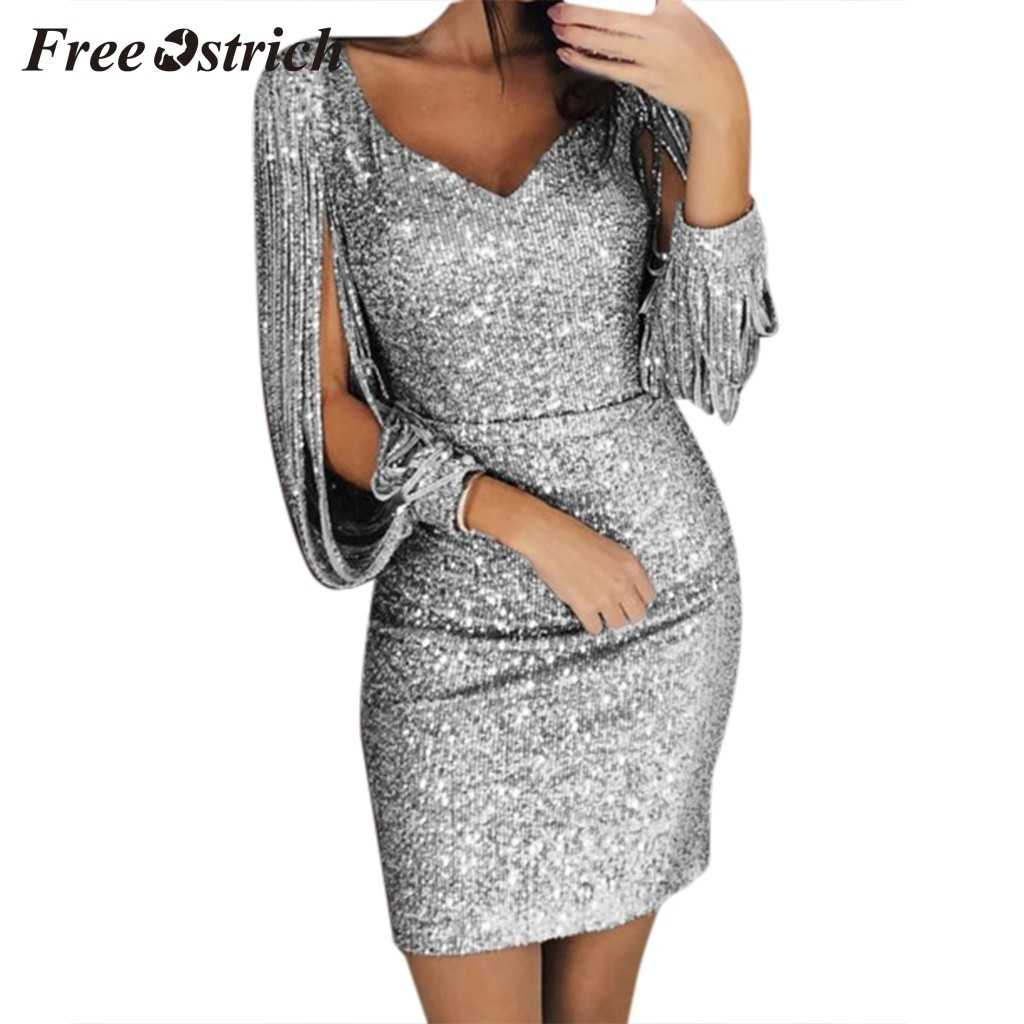 Free Ostrich 2019 Women Sexy Solid Sequined Stitching Shining Club Sheath Long Sleeved Mini Dress Sexy Club Bling Dress For Lady