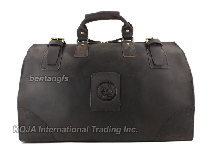 Image 2 - MUNUKI Vintage luggage bag Crazy Horse Genuine Leather Travel bag  men Leather duffle bag Large Weekend Bag Tote Big-in Travel Bags from Luggage & Bags