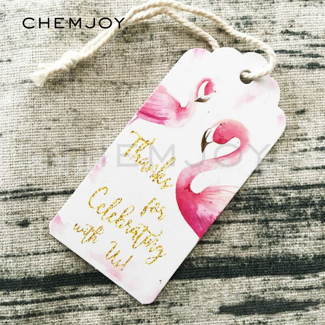 Flamingo Theme Birthday Gift Tags With String Thank You Labels Party Favor Tag Decorations 50Pcs