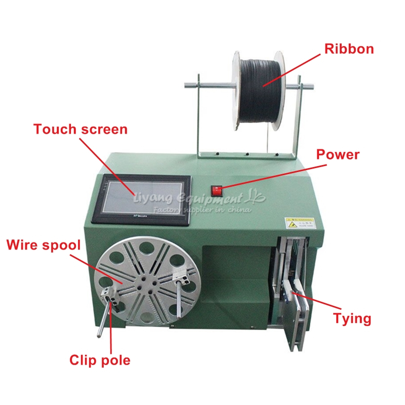 LY 40 80 big touch screen wire coiling winding binding electronic machine with full kit tool