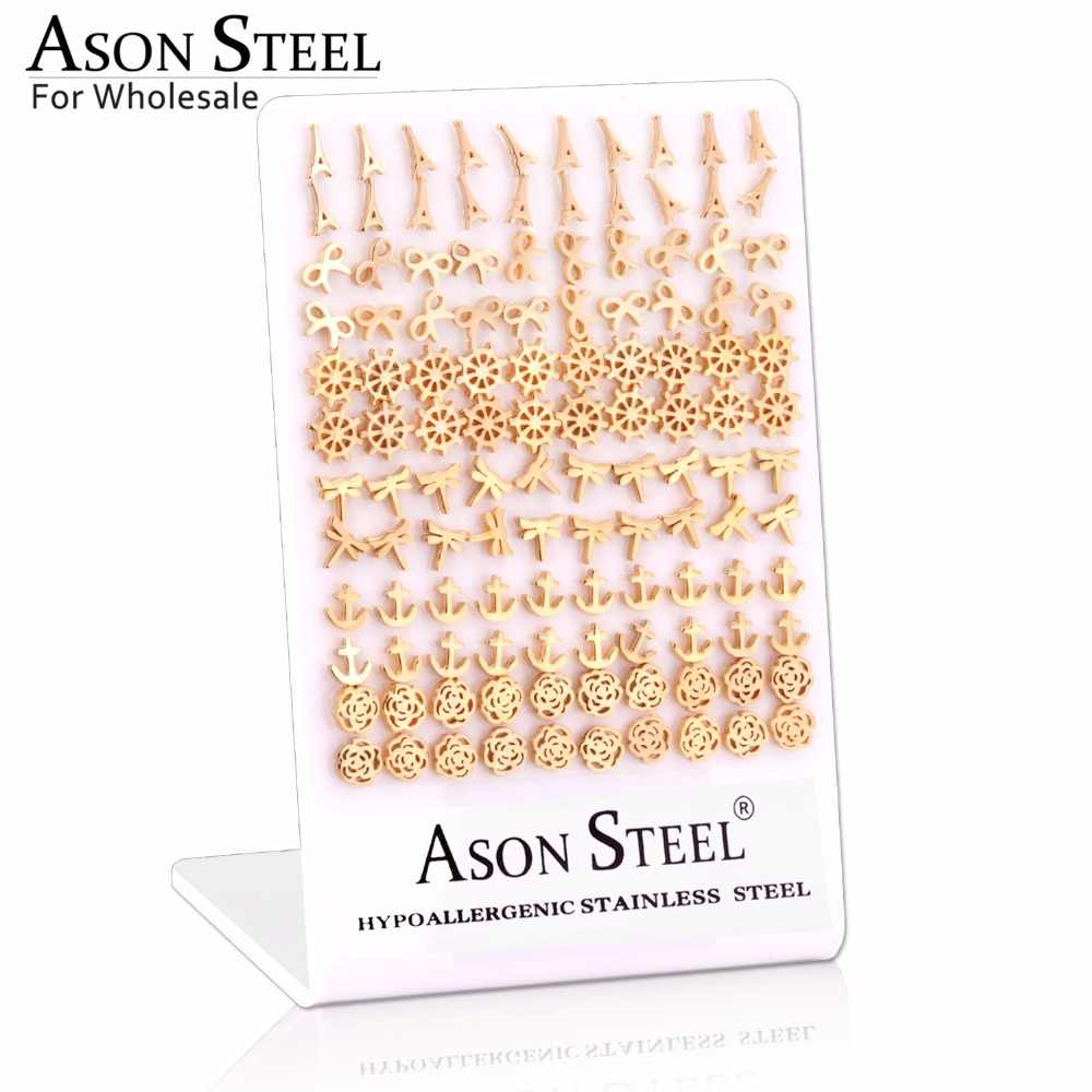 ASONSTEEL Fashion 60Pairs/Lot Vintage Stud Earrings for Women Stainless Steel Gold Earrings Wholeslae Party Collier