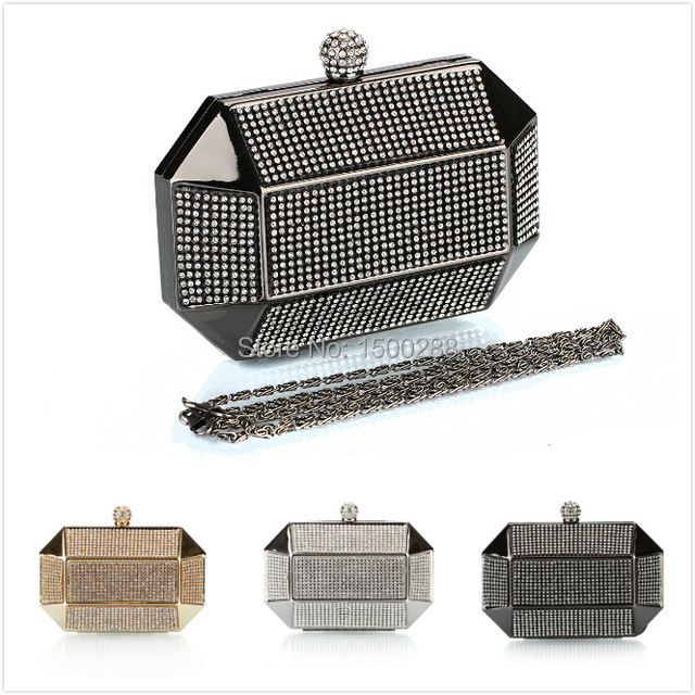 free shipping Luxury Party Alloy Clutch Bag Iron Box Full Diamond Evening Bag Clutch Solid Purse Diamond Wedding Handbag NO 0182