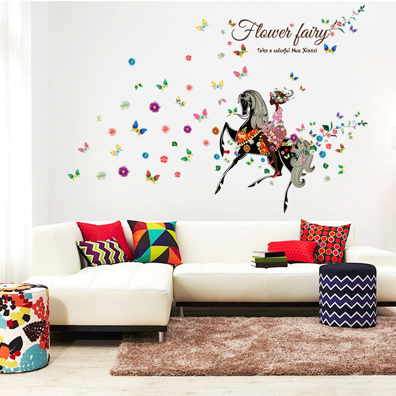 Angel Horse Beautiful Girl Flowers Butterfly DIY Wall Stickers Removable  Home Decoration Living Room Bedroom Girlu0027s Room Decor  In Wall Stickers  From Home ...