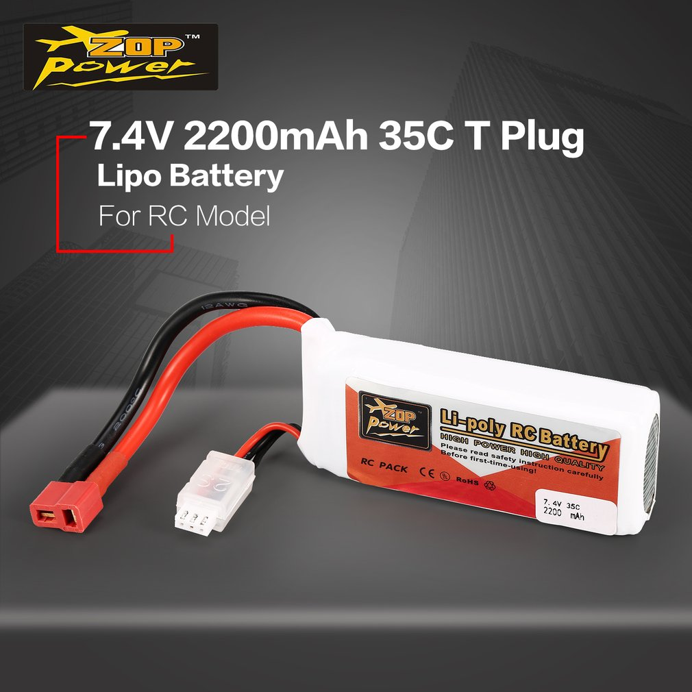 ZOP Power 7.4V 2200mAh 35C 2S 2S1P Lipo Battery T Plug Rechargeable For RC Racing Drone Helicopter Multicopter Car Model image