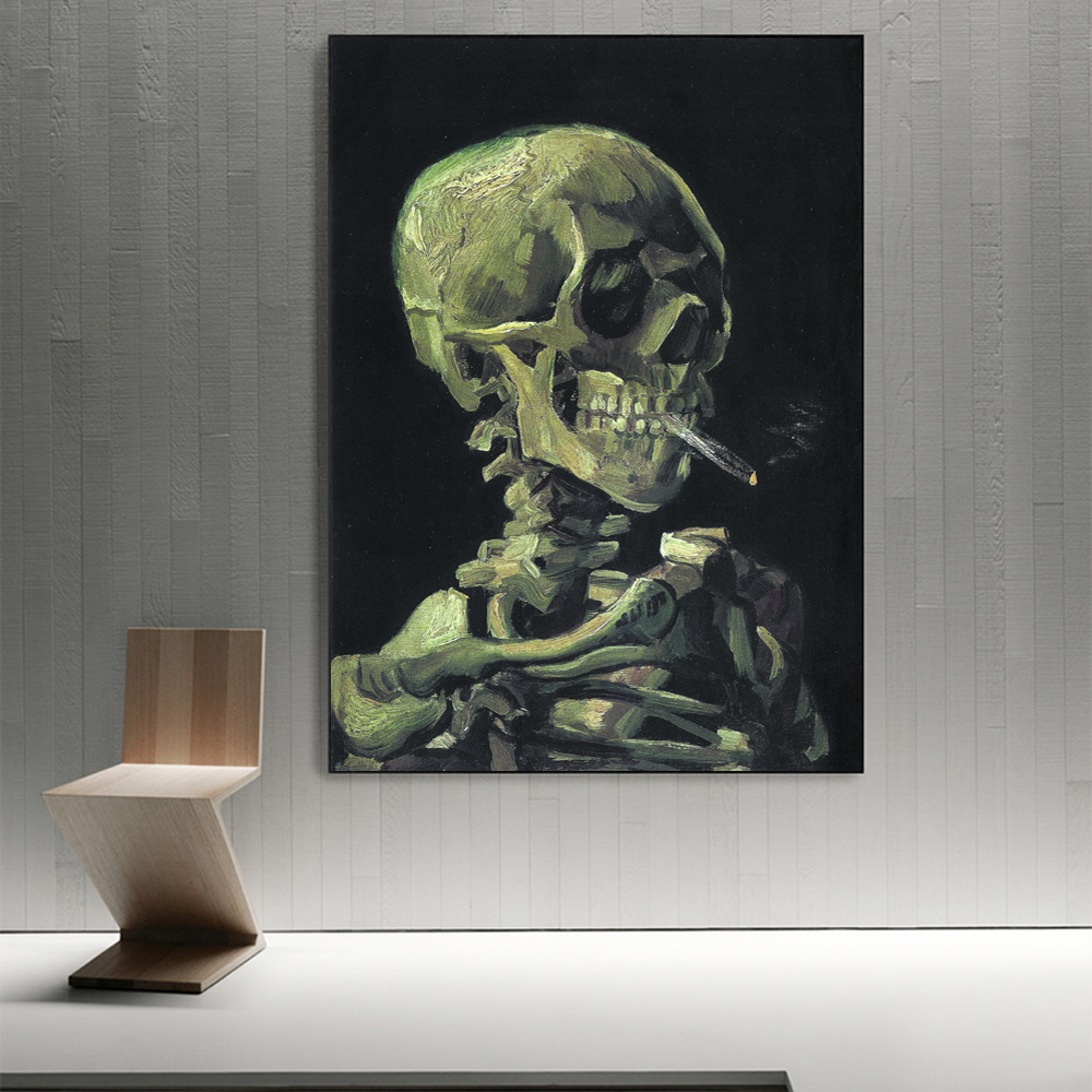 Head of a Skeleton with a Burning Cigarette-Painting Van Gogh Impressionist Wall Canvas