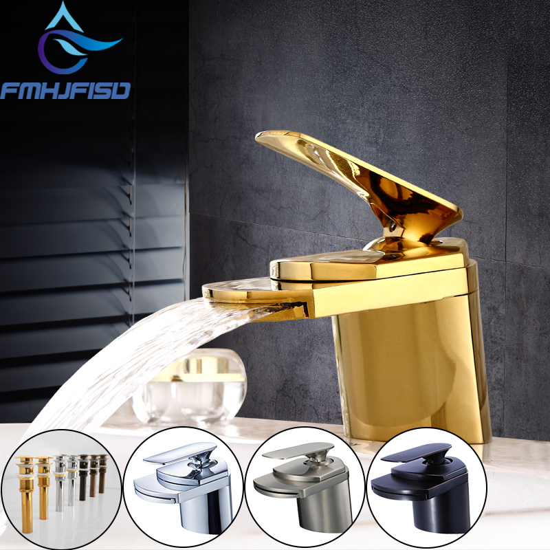 Free Shipping Golden Polished Basin Faucet Deck Mount Waterfall Bathroom Basin Sink Faucet Hot and Cold