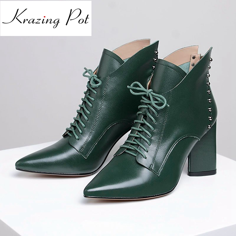 Krazing pot cow leather pointed toe mature style high heel lace up boots winter shoes office lady rivets fashion ankle boots L66 fashion pointed toe lace up mens shoes western cowboy boots big yards 46 metal decoration