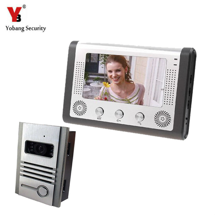 Yobang Security 7Hands Free Monitor Intercom Doorbell Door Camera With Metal Case LCD Home Video Intercom Door Phone System yobang security free ship 7 video doorbell camera video intercom system rainproof video door camera home security tft monitor