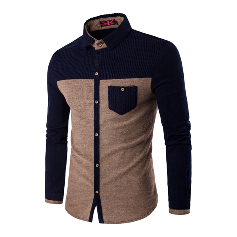 Young mens long sleeve cotton polyester parchwork shirts for Soft cotton long sleeve shirts