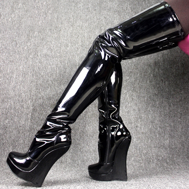f00477b09991 Sexy Shiny Leather Tigh High Women Boots Wedge Heels 18Cm Platform 3Cm Sexy  Fetish Shoes Woman