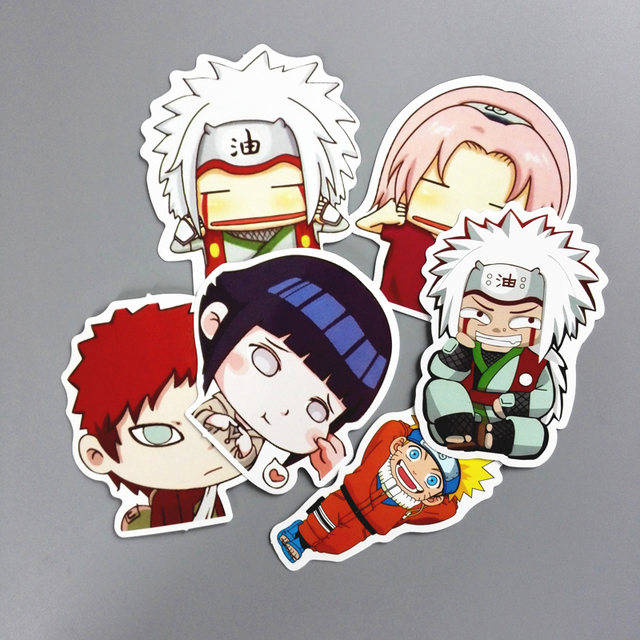 TD ZW 12 Pcs/Lot Waterproof Japan Anime Naruto Sticker For Laptop Car Trunk Skateboard Guitar Fridge Backpack Decal Toy Stickers