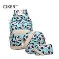 CIKER Женщины холст рюкзак мешок плеча способа для девочек-подростков mochila рюкзак mujer печати ноутбук рюкзаки 3 bags/set