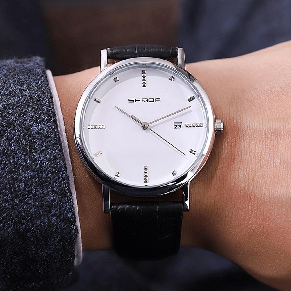 Sanda Men Smart Casual Quartz Watch With Calendar Leather Watchband Wristwatch Office Men Businessmen Fashion Watches San0