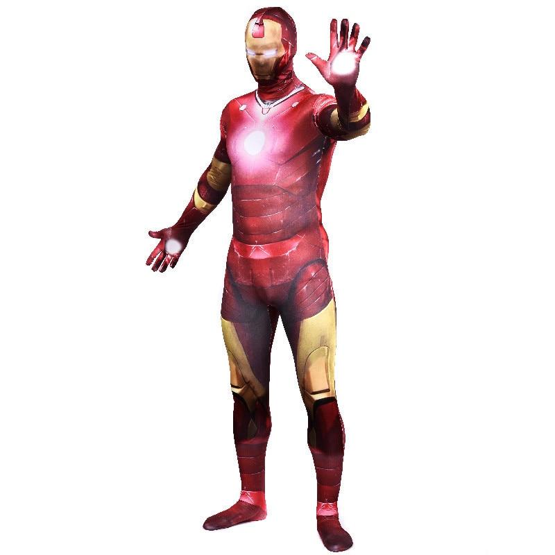 Film Iron Man tony stark personnage Cosplay Costume Tony Stark Avengers Lycra adulte Zentai costumes Zip fer hommes costume