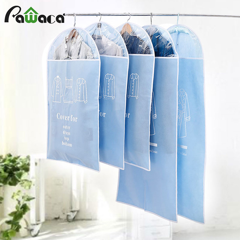 5Pcs/set Hanging Garment Bag Moth-proof Clothing Covers Dust Proof Cover Storage Bag Clothes Suit Coat Dress Jacket Protector