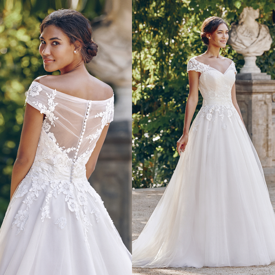 Off the Shoulder Ball Gown with Ruched Bodice Embroidered Lace V neck Wedding Dress Illusion Back