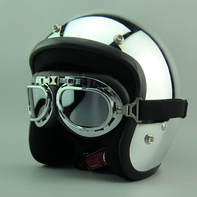 Hot sales Silver mirror chrome motorcycle helmet Vintage scooter open face helmet Harley Retro 3/4 moto casco DOT capacete барнс с поцелуй наследника