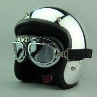 Hot Sales Silver Mirror Chrome Motorcycle Helmet Vintage Scooter Open Face Helmet Harley Retro 3 4