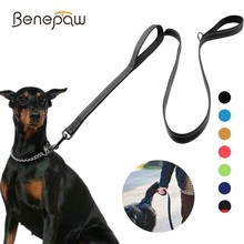 Benepaw Reflective Padded Dog Leash Two Handle Durable Tangle Free Small Medium Large Dog Pet Training Leash Nylon Lead 7 Colors