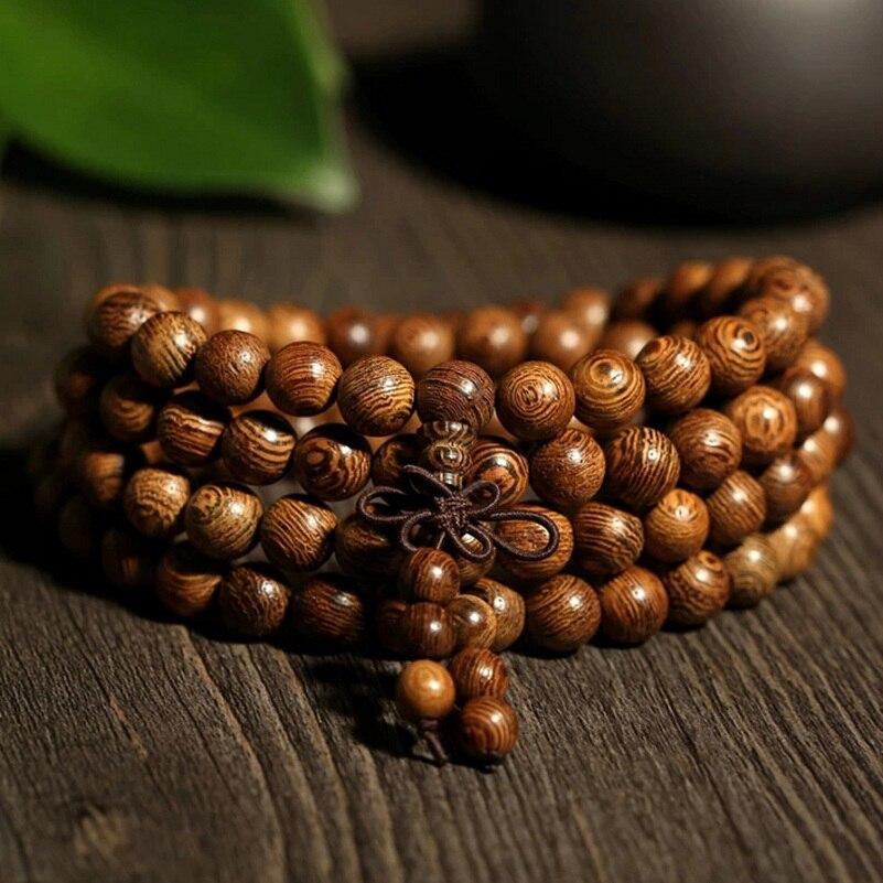 Image 4 - Tibetan Religion Buddhism Natural Brown Wenge Wood Wooden 108  Beads 4 Layers Bracelets Prayer Bead Rosary For Celebrity  BelieverHologram Bracelets