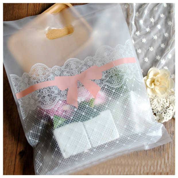 Lace bowknot Plastic Shopping Bag with Handle Cloth Gift Packaging Pouches Frosted Package Handle Bag 50pcs/lot
