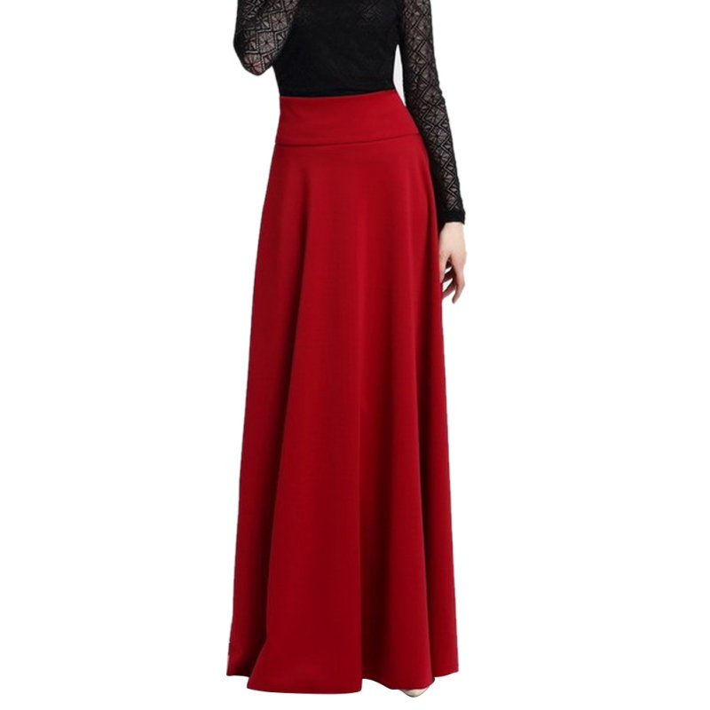 High Waist Pleat Elegant Skirt Wine Red Black Solid Color Long Skirts Women Faldas Saia Plus Size 5XL Ladies Jupe