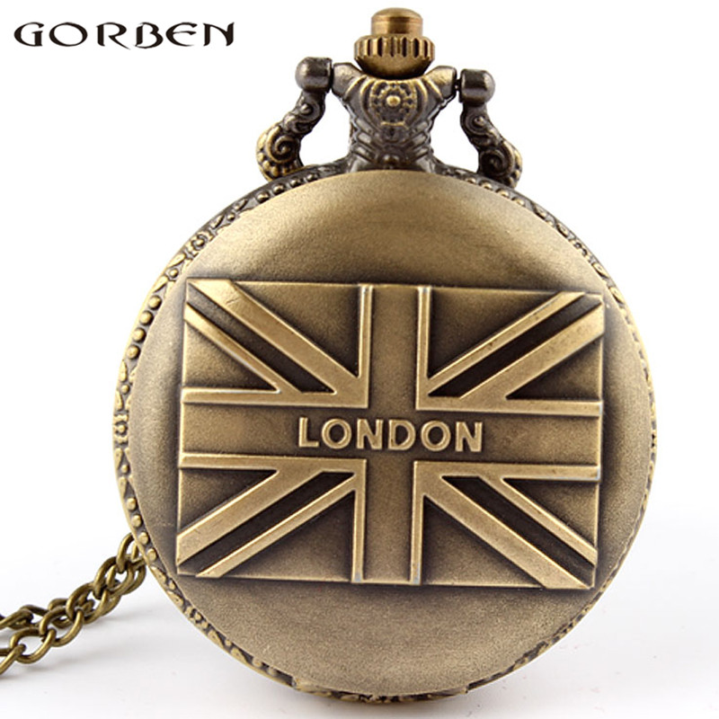 Gorben Watch 2017 Vintage UK Flag Design Fashion Pendant Watch Retro London Quartz Pocket Watch For Men Women Precious Gifts P81