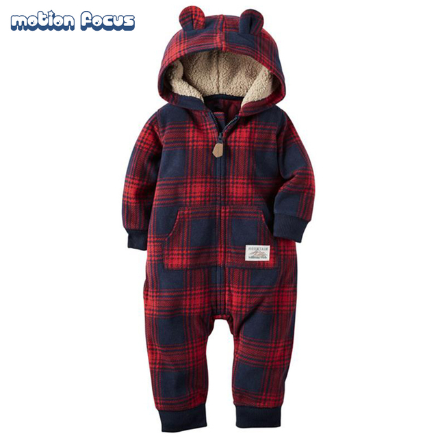 New Winter Baby Rompers Warm Fleece Long Sleeve Jumpsuits Newborn Boys Girls Hooded Costume Infant Clothes Roupas de Bebe