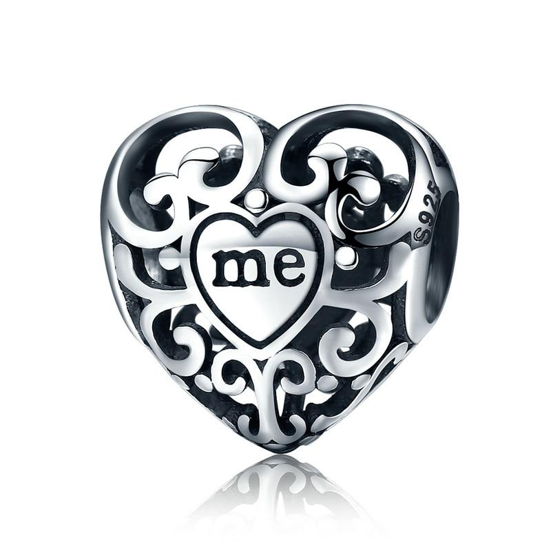 WOSTU 100 Authentic 925 Sterling Silver Heart Shape Charm Beads Fit Brand Charm Bracelet DIY Original
