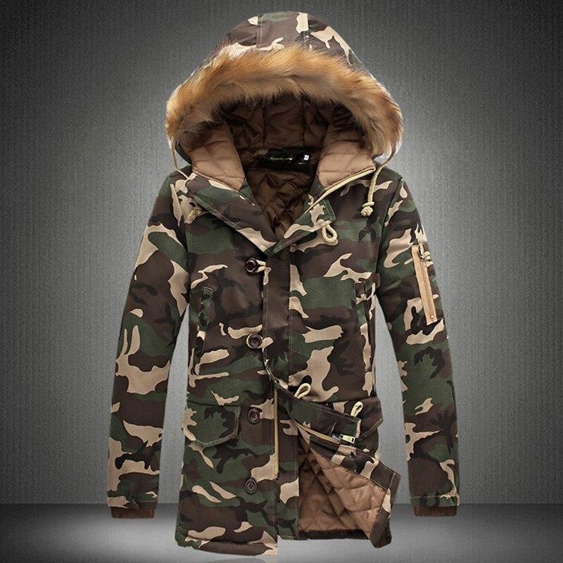 Image 2 - Зимняя мужская куртка, хит продаж 2019, камуфляжная армейская Толстая теплая куртка, Мужская парка, Мужская модная парка с капюшоном, Мужская M 4XL размера плюс-in Парки from Мужская одежда