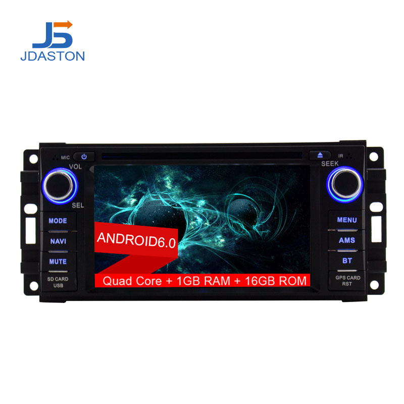 JDASTON Android 6.0 Car Multimedia DVD Radio Player For Dodge Chrysler Sebring Jeep Compass Commander Grand Cherokee Wrangler spiral cable sub assy for jeep wrangler patriot grand cherokee commander dodge nitro caliber chrysler 200 sebring 5156106ab