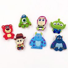 1Pcs Cartoon Monster Mike Bear Toy story Movie PVC Badges Pins Brooches on Clothes Bag Hat Decorations Kids Party Gift stickers(China)