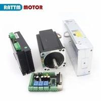 Axis Nema34 CNC Stepper Motor (Dual shaft)154mm/ 1600oz in/5.0A & Driver 6A/80VDC 256 Microstep