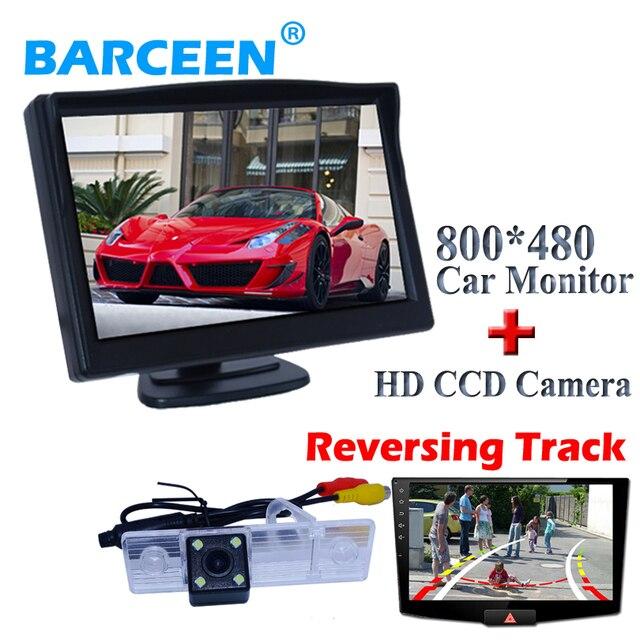 "Para Chevrolet Epica/Lova/Aveo/Captiva 800*480 5 ""monitor del coche + parking coche a prueba de lluvia cámara 4 led y pista Dinámica línea"