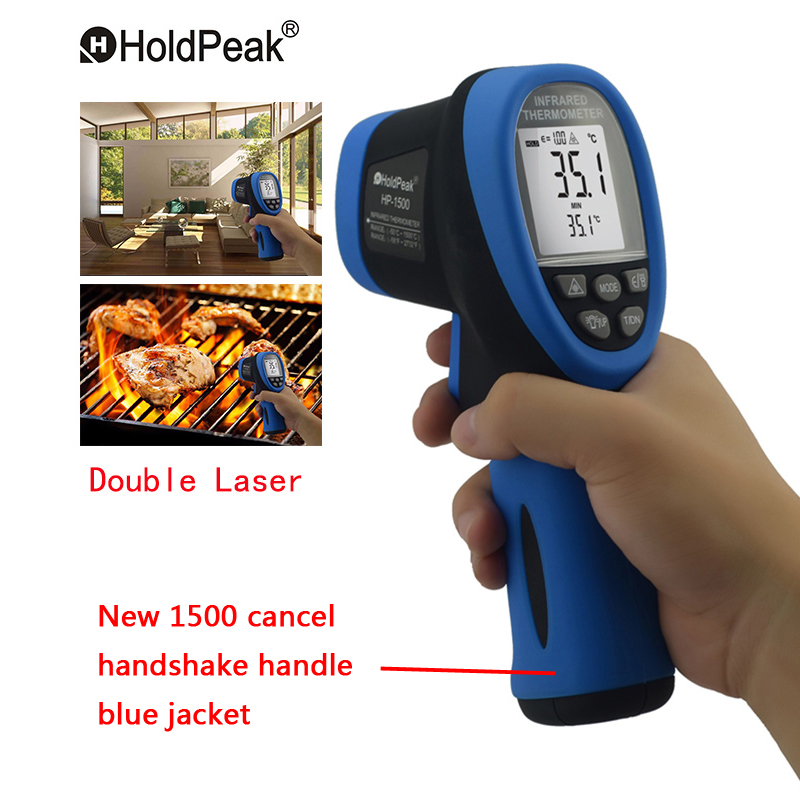 Double Laser HoldPeak HP-1500 Digital Infrared Thermometer -50~1500 Non Contact Temperature Meter Gun LCD Display Thermometer цена