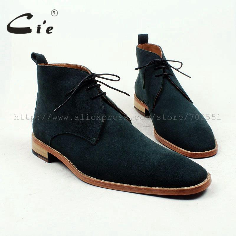 cie kvadrat vanlig toe100% äkta kalv läder boot djupt grön mocka handgjorda läder män boot vår / höst män ankel boot A92
