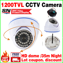 828biggest Sale!HD Cmos 1200tvl CCTV camera IRCUT infrared Night Vision 35m Wide Angle indoor Dome security Surveillance vidicon