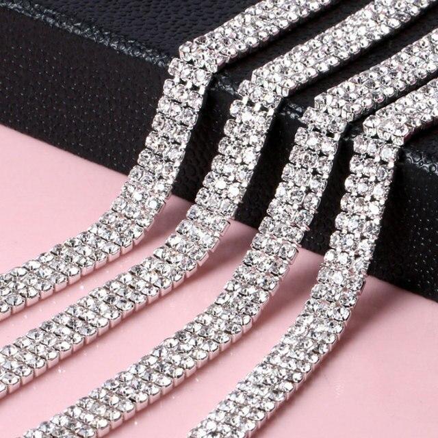 2.8mm 1Yard Roll 3Row Glass Strass Rhinestones Cup Chain Silver Claw Sew On  Rhinestones 29dc874596af