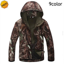 HOT 2016 ESDY Winter Soft Shell Camouflage TAD Sharkskin Jacket Men Waterproof Fleece Zipper Multi-Pocket Tactical Army Hoodies