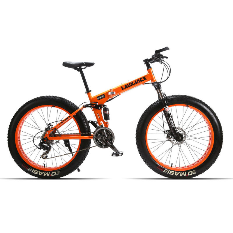 LAUXJACK Fat Bike Full Suspension Steel Foldable Frame 24 Speed Shimano Mechanic Brake 26 x4 0