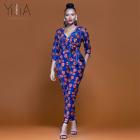 Yilia Womens Rompers Jumpsuit Summer 2018 New Women African Print Clothing 3/4 Sleeves Casual Sexy Fashion Party Wide Leg Pants