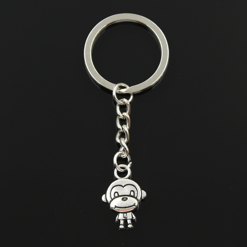 New Fashion Keychain 15x27mm Double Sides Monkey Pendants DIY Men Jewelry Car Key Chain Ring Holder Souvenir For Gift