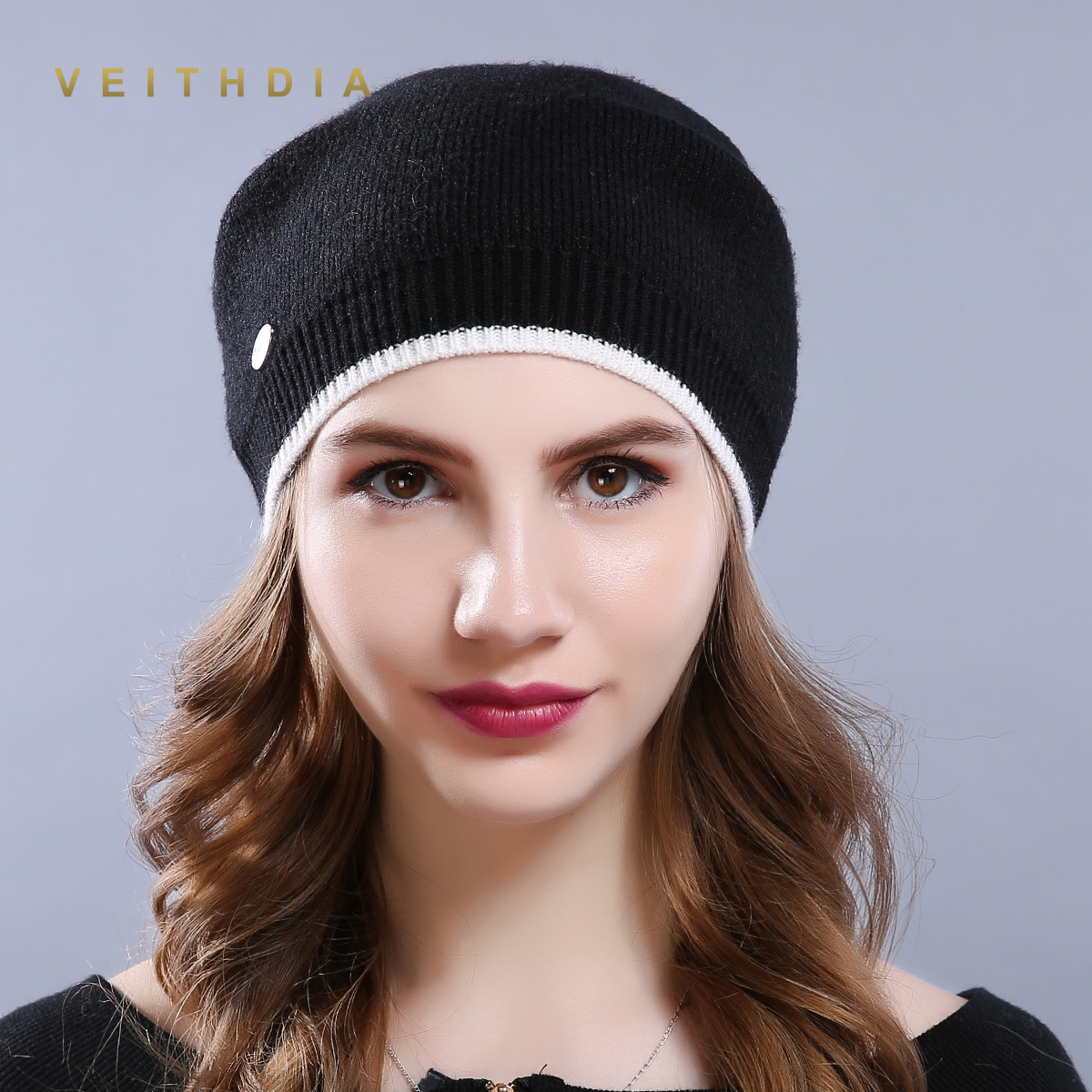 VEITHDIA Women'S Hats Knitted Wool Autumn Winter Casual High Quality Brand New 2019 Hot Sale Flange Hat Female   Skullies     Beanies