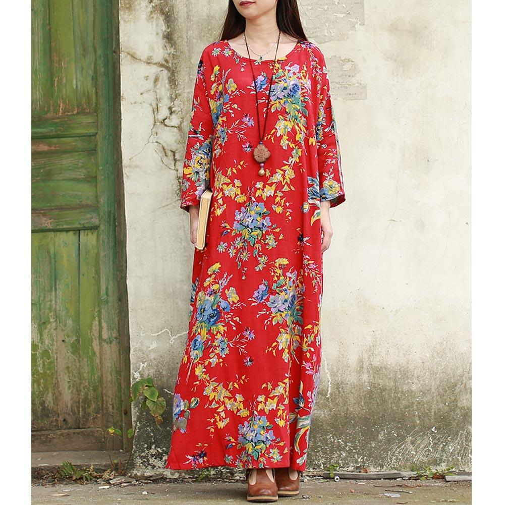 EaseHut 19 New Vintage Women Maxi Floral Dress Plus Size Long Sleeves Pockets O Neck Cotton Linen Loose Robe Dresses vestidos 7