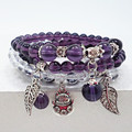 Amethyst black agate beads bracelet jewelry handmade bracelet women men jewelry ancient silver pendant 0219
